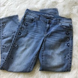 International Concepts Tribal Embroidered Jeans